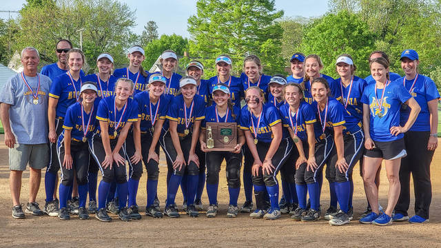 Russia players and coaches pose with a district championship trophy after beating Ansonia 12-1 on Friday in Versailles. It's the program's first district title.
