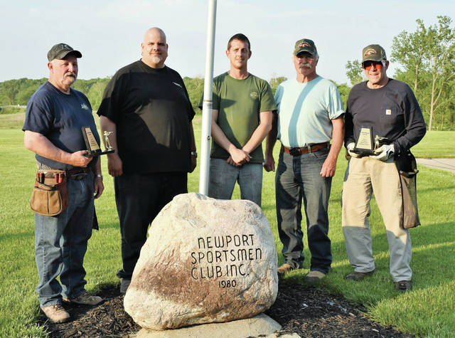 First place honors in both the 16 yard and the Handicap competition goes to Premier Tool #1in the Newport Sportmen Club's shooting competition on Thursday, May 27. The winners are, left to right, Pat Owen, Aaron Guittar, Kirk Robbins, Joe Wilson, and Mel Maggert. Britt Havenar, not pictured, was winner of the Top Shooter Award.