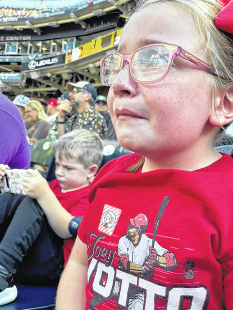 Abigail, the 6-year-old daughter of Fort Loramie graduate Kristin Courtney, went viral on social media when her mom posted a photo of her on Twitter after her favorite player, Cincinnati Reds first baseman Joey Votto, was ejected from Saturday's game.