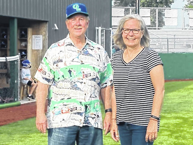 Celina resident Bill Montgomery provided $10,000 to establish a permanent endowment fund to support the operations of the Grand Lake Mariners. Pictured are Montgomery and Carol Hone, director of the Mercer County Civic Foundation.