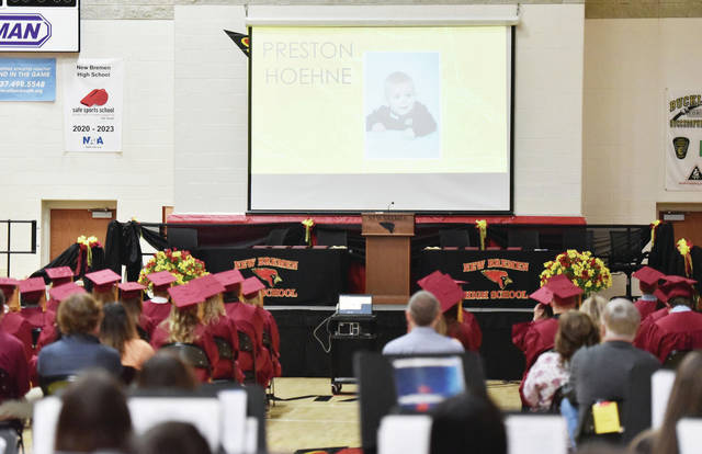 A photo of New Bremen High School senior Preston Hoehne as a baby is shown in the slide show portion of the 2021 New Bremen High School Graduation Ceremony on Sunday, May 30.