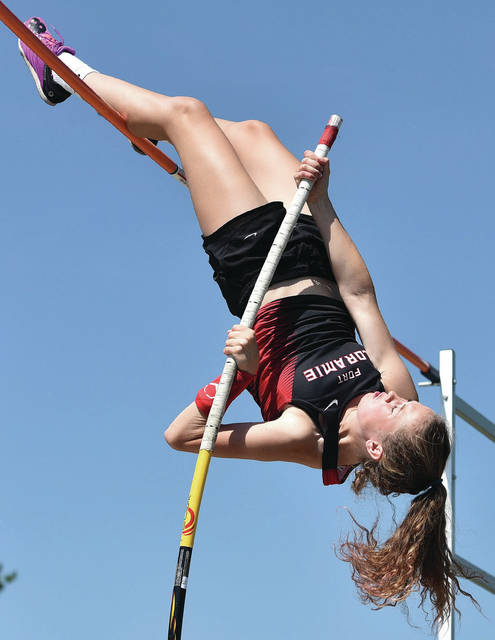 Fort Loramie's Riley Heitkamp competes in girls pole vault during the Division III state championship track meet on Saturday at Westerville North High School.
