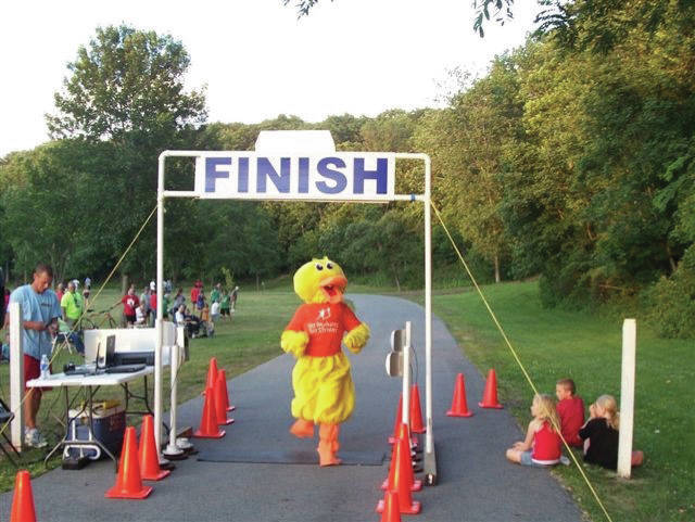 Mrs. Duck finishes first in a previous Duck-N-Run held by the Big Brothers Big Sisters of Shelby & Darke County.