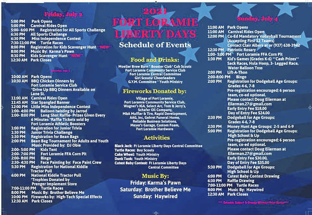 Fort Loramie Liberty Days 2021 schedule. The festival kicks off on Friday, July 2, at 5 p.m. and runs through Sunday, July 4, this year at the community youth park located in the center of town.