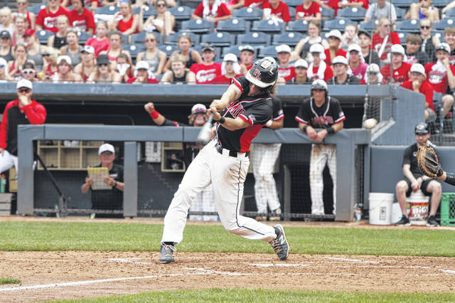 Fort Loramie's Grant Albers takes a swing at the baseball during Saturdaay's semifinal game.