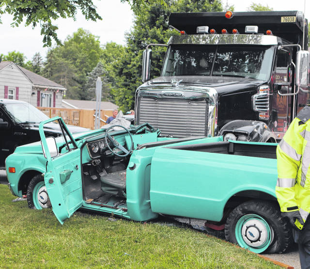 First responders are on the scene of a two-vehicle crash at state Route 47 at Hardin Wapakoneta Road on Monday, June 21, at 5:14 p.m. Roy Morelock, 88, of Sidney, was driving the blue pickup truck on Harding Wapakoneta Road when he failed to yield to the Freightliner dump truck, driven by Blake Osting, 52, of Spencerville, on state Route 47. The collision caused Morelock and his juvenile passenger to be taken by CareFlight to Miami Valley Hospital in Dayton. The crash remains under investigation.