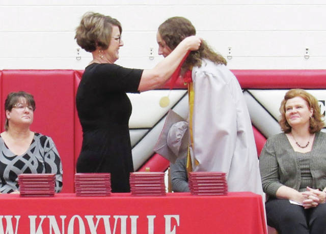 Lola Thompson receives her Salutatorian medal during the 2021 New Knoxville High School graduation ceremony on Sunday, May 30.
