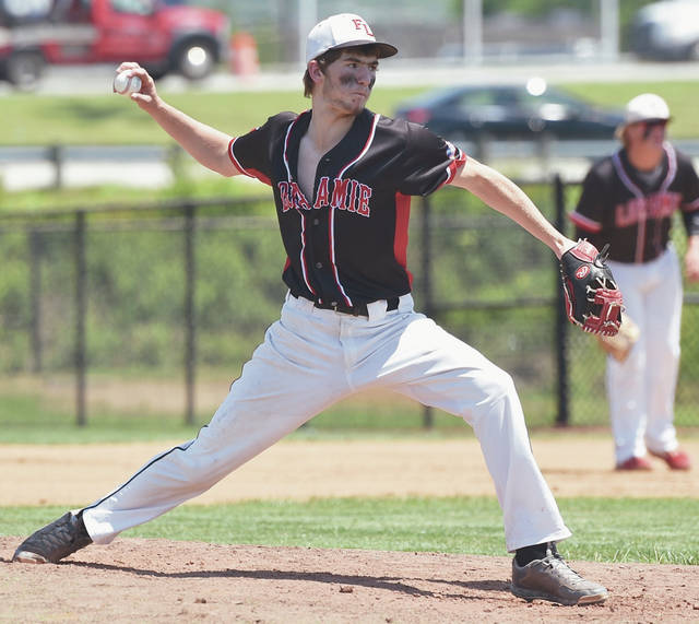 Fort Loramie senior pitcher Caeleb Meyer pitches during a Division IV regional semifinal against Cedarville on June 4 at Cincinnati Princeton High School.