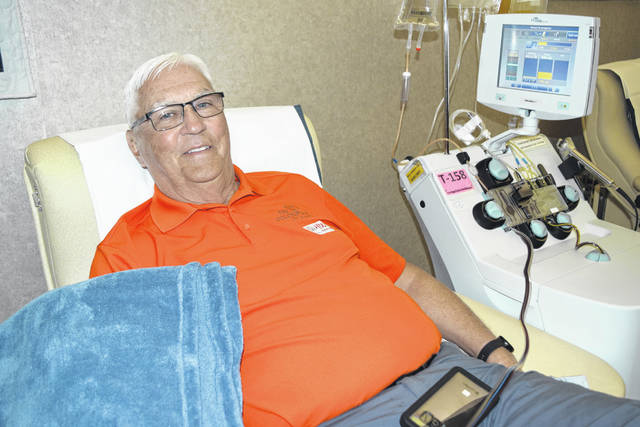 Mel Boerger, who has roots in Shelby County, celebrated his milestone 400th lifetime donation with a platelets and plasma donation June 10 at the Dayton CBC.