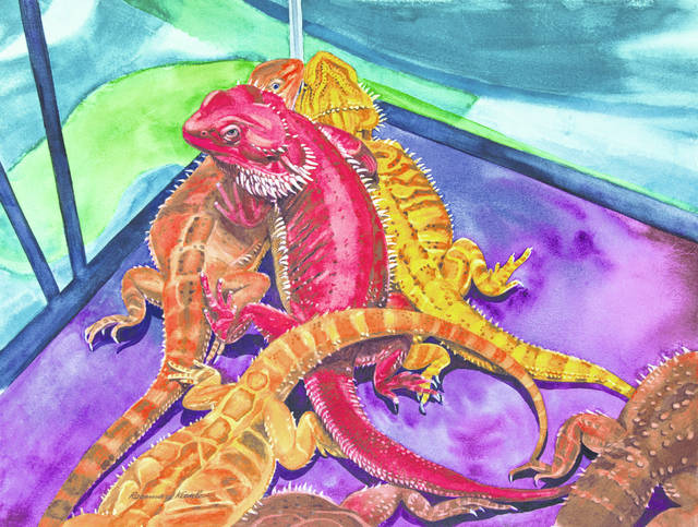 Lizards is one of the pieces of artwork of Rosemary Kienle on display at Gateway Arts Council.
