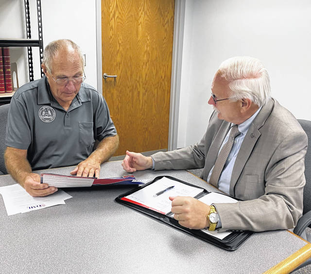 Sidney Mayor Mike Barhorst meets with village of Wilmington Mayor John Stanforth to discuss the Ohio Municipal League's 2021-2022 Public Policy Agenda, encourage participation in the Mayors Association of Ohio, and learn about the challenges faced in the village.