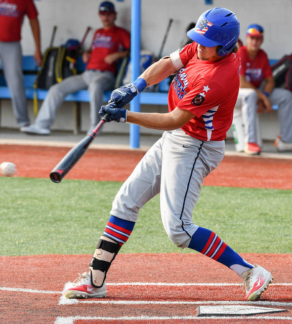 Sidney Post 217 White leadoff hitter Ryan Schloss swings during an Ohio American Legion state tournament game on Wednesday at Beavers Field in Lancaster.