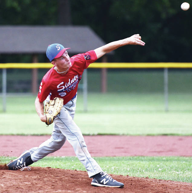 Sidney Post 217 White's Ryan Caulfield pitches during a game against Greenville Post 140 on Wednesday at Custenborder Field. Caufield pitched four innings and gave up one earned run on eight hits and one walk while striking out four batters.