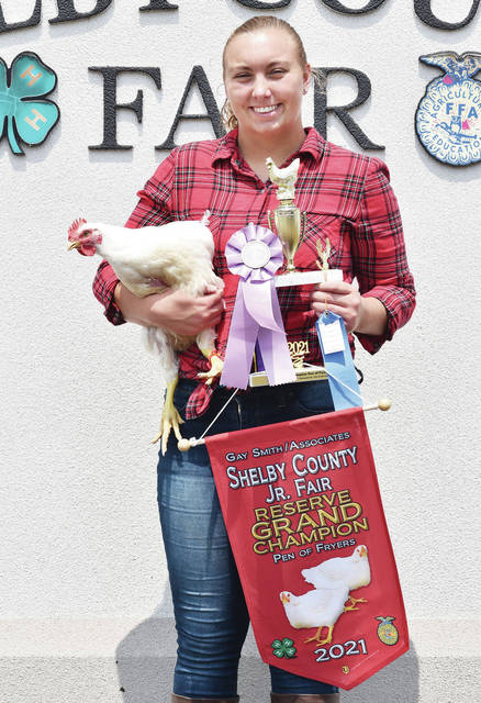 Russia Livestock 4-H Club member Leanne York, 17, of Russia, daughter of Ben and Lisa York, won reserve grand champion pen of fryers at the Shelby County Fair.