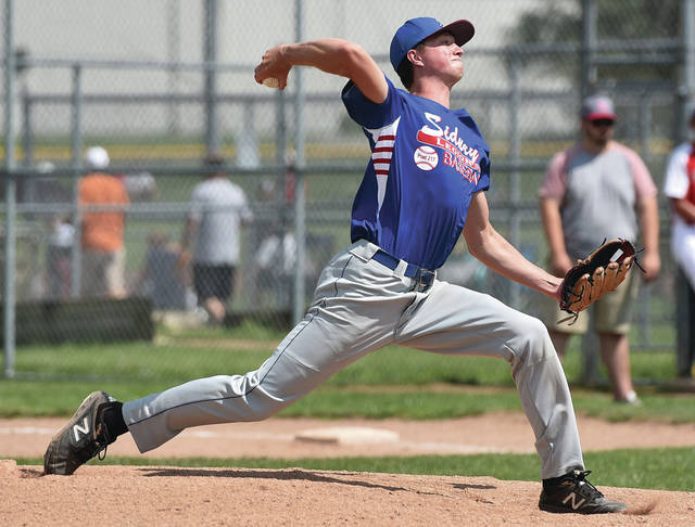 Sidney Post 217 White's Jarin Bertke pitches Sidney during an Ohio American Legion Region 2 tournament game against Van Wert Post 178 on Sunday in Greenville. Bertke pitched a complete game and struck out 11 batters.