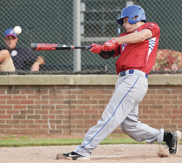Sidney Post 217 White's Darren Hoying swings during an American Legion tournament game against Post 217 Red on Tuesday at Sater Park in Greenville.