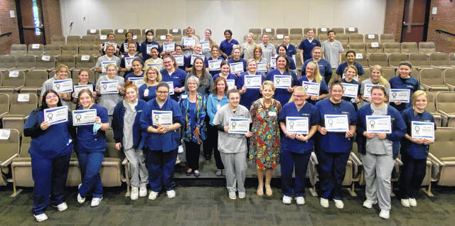 The 2020-21 Upper Valley Career Center junior Medical Careers Academy (MCA) class had the honor of being the first high school class to earn four industry-recognized credentials (IRCs) through the Elder Care Certificate program.