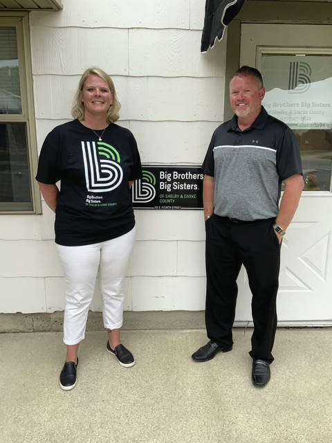 Shaun Haves recently donated $5,500 to Big Brothers Big Sisters of Shelby & Darke Counties. He is pictured with Jennifer Bruns, executive director of the Shelby County branch of Big Brothers Big Sisters.