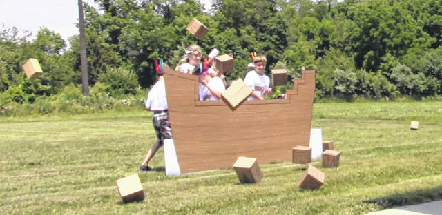 A Boston Tea Party re-enactment by the campers with some as British soldiers and others representing Colonists dressed as Indians was held. The Indians took great delight in throwing the tea into Boston Harbor.