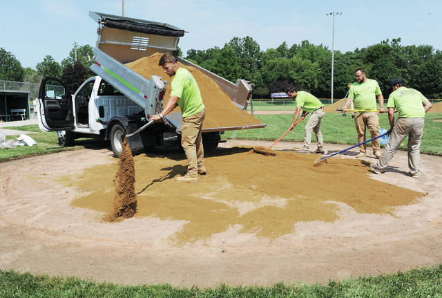 Adding a mixture of sand and clay around home plate at Veterans Memorial Field at Custenborder Fields on Thursday, July 22, are, from left to right, Jacob Adams, Troy Mercer and Jared Wright, all of Troy, and Parker Smith, of Bradford. Moving the mix around the rest of the field was a Bobcat Skid Steer Loader. The four men work for Mercer Group, Inc. based in Troy. The company was hired by Sidney Post 217 to improve the field, which the Legion's sponsored baseball teams play on. Among other work, they are removing excess brick dust, bringing in 96 tons of infield clay and rebuilding the pitching mound and home plate area.