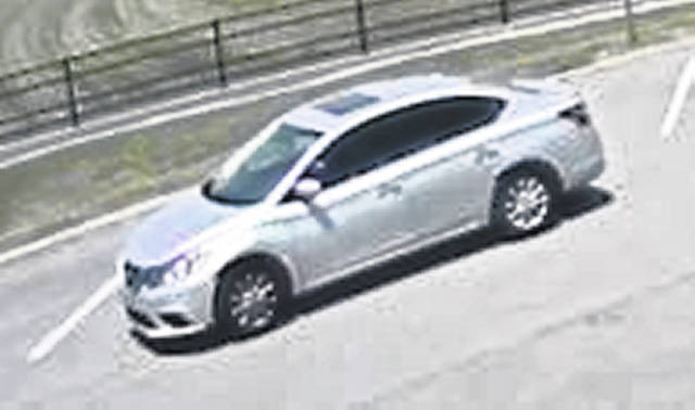 The suspect of a burglary of a residence in the 200 block of East Lynn Street in Botkins was driving this silver Toyota Corolla with either no license plate or a temporary tag in the back window. The vehicle left the scene traveling south on South Sycamore Street. Botkins Police and Crime Stoppers are seeking information about the crime.