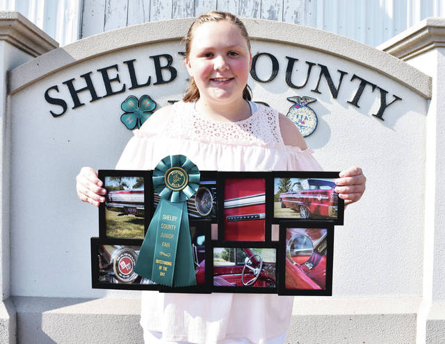 Successful member 4-H Club Amanda Roush, 12, of rural Sidney, daughter of Karen and Darrin Ike, won outstanding of the day photo series - controlling the image at the Shelby County Fair.