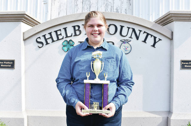 McCartyville Producers member Marin Argabright, 13, of Jackson Center, daughter of Darren and Jennifer Argabright, won intermediate swine showmanship at the Shelby County Fair.