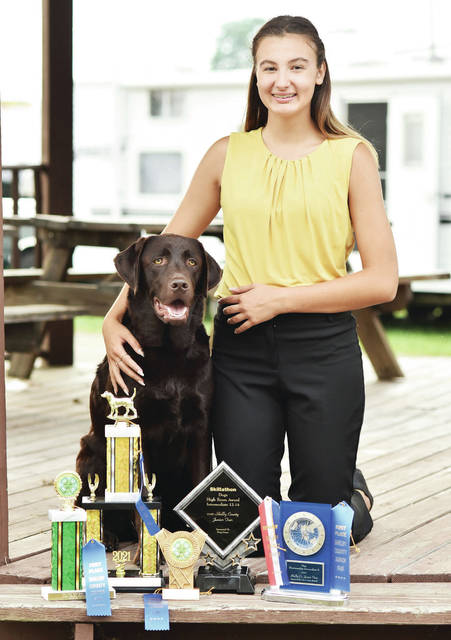 Paw Prints member Alexandrea Scheele, 14, of Anna, daughter of Sam Schmidt, won obedience preferred novice, you and your dog intermediate, high score skillathon intermediate, dog rally obedience intermediate and showmanship intermediate B at the Shelby County Fair.
