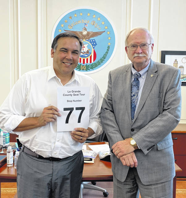Sidney Mayor Mike Barhorst's Le Grande Tour of Count Seat Mayors included Ohio's largest county seat municipality as well as Ohio's smallest. Here Barhorst is pictured with Columbus Mayor Andrew Ginther in what was his 77th county seat visit. Columbus is currently Ohio's largest municipality.