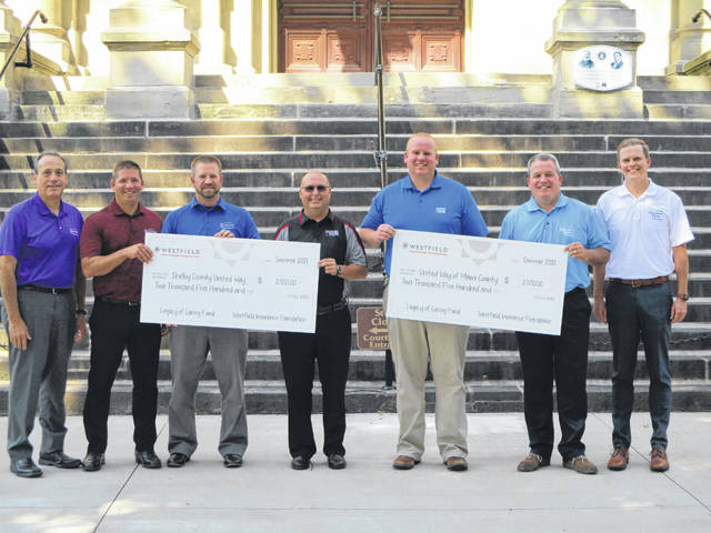 Rudy Keister, Sidney, Nate Barhorst, Fort Loramie and Josh Ross, Sidney, from Ruese Insurance Group are pictured with Scott Barr, CEO of Shelby County United Way, and Sean Ford, CEO of Miami County United Way, receiving a check from Matt Ratermann and Chad Graeser, Piqua location of Ruese Insurance Group.