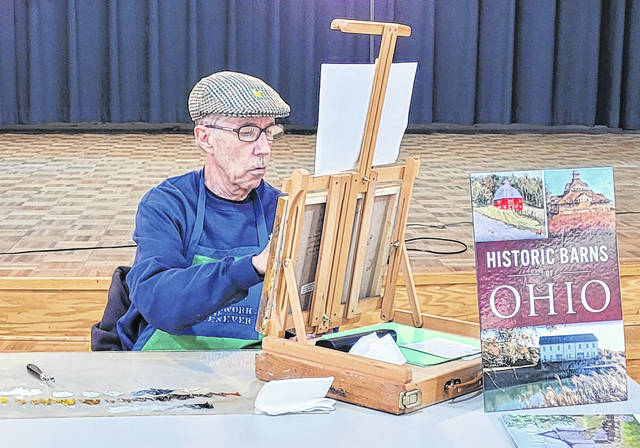 Robert Kroeger at the April 24 barn painting event held at the Senior Center.