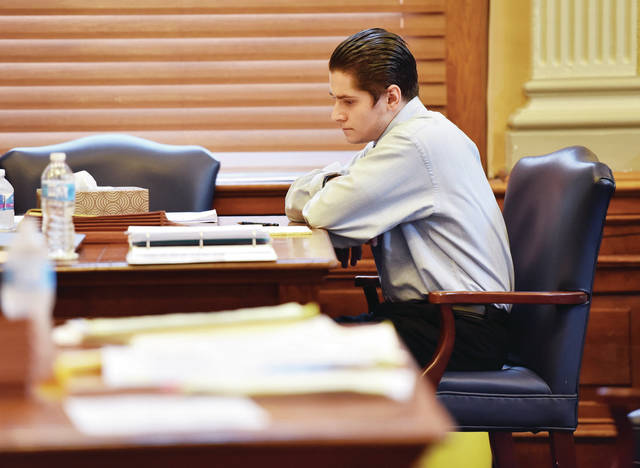 Riley Barger waits for his jury trial to begin on Tuesday, Aug. 4, in Shelby County Common Pleas Court.