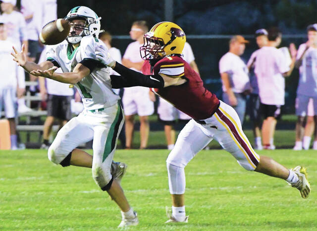 Anna's Zach Ambos catches a pass as New Bremen's Aaron Thieman tries to break it up during a Midwest Athletic Conference game on Friday at Cardinal Stadium. Ambos caught seven passes for 88 yards.