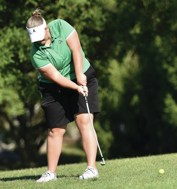 Anna's Grace Russell chips during a match against Russia on Thursday at Stillwater Valley Golf Club in Versailles. Russell shot a 57.