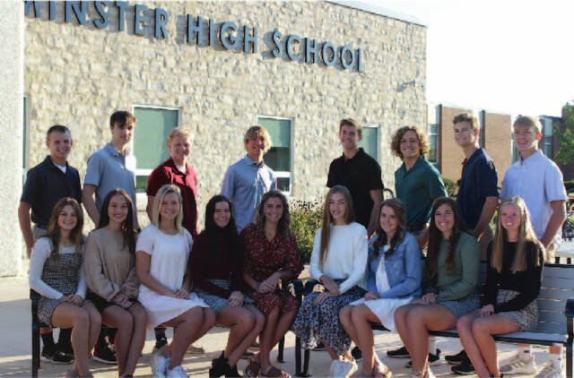 Pictured is the Minster High School homecoming court, in back from left to right, Isaac Larger, Noah Piipari, Austin Wellman, Guy Weigandt, Alex Albers, Caleb Kies, Tyler Prenger, Charlie Schmiesing. In front from left to right, Sadie Niemeyer, Paige Bornhorst, Mary Schmiesing, Hayley Prenger, Maura Baumer, Katie Kogge, Jayden Clune, Claire Lamm, Ashley Meyer. Not pictured: Riley Heitkamp.