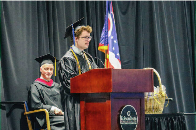 Devan O'Connell, of Sidney, delivers his keynote speech during Edison State Community College's commencement ceremony.