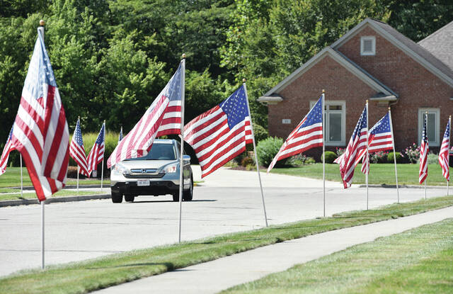 Fifty U.S. flags line the sides of Indian Trail in Fort Loramie on Friday, Sept. 10. The flags were put up by members of the neighborhood as a way of saying thank you to someone from their neighborhood who is joining the Navy.