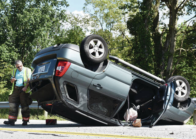 An SUV flipped upside down in a one vehicle accident on State Route 47 near its intersection with Lochard Road around 2:30 p.m. on Friday, Sept. 17. The driver sustained minor injuries and refused transport. The Shelby County Sheriff's Office and Anna Rescue responded to the scene.