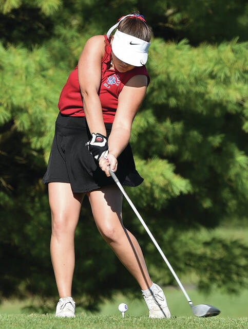 Riverside's Roz Estep tees off during a Division III girls golf sectional tournament on Wednesday at Stillwater Valley Golf Club in Versailles. Estep shot 100.