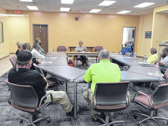 Feeding America CEO Claire Babineaux-Fontenot visited West Ohio Food Bank on Thursday to tour the facility and talk with staff about serving through the pandemic and how to improve service to the community.