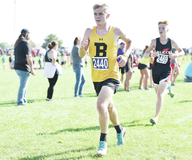 Botkins' Keaton Schnippel runs during the Anna Rocket Invitational on Saturday in Anna. Schnippel finished ninth in the boys race in 17:03.