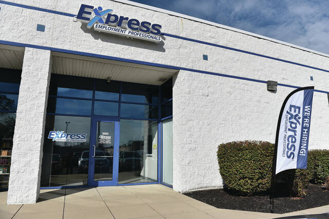 An outside view of the Express Employment Professionals business located at 1660 Gleason St. on Wednesday, Oct. 13.
