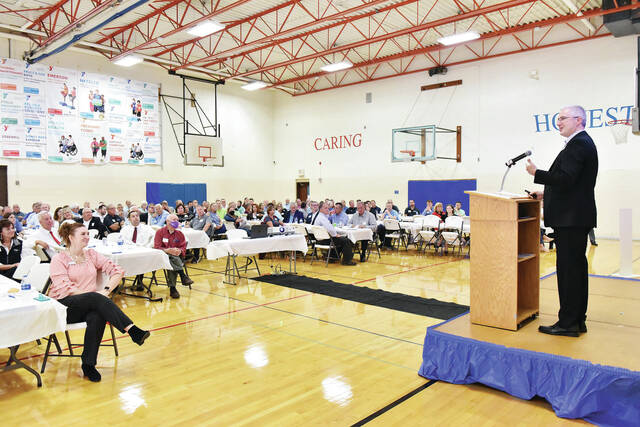 Economic Outlook Luncheon Keynote Speaker and Vice President and Senior Regional Officer of the Cincinnati Branch of the Federal Reserve Bank of Cleveland Richard Kaglic gives a presentation about the health of the U.S. economy at the Sidney-Shelby County YMCA on Wednesday, Oct. 6. The event was sponsored by Wilson Health, the Sidney-Shelby County Chamber of Commerce and the Sidney-Shelby County YMCA.