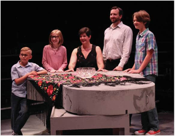Actors (from left to right) Hudson Mugler, Sydney MacGilvray, Kim Hopcraft, Peter Matthew Smith and Henry Smith perform in CATCO's 2017-18 season opener, Fun Home, Sept. 13-Oct. 1 at the Vern Riffe Center, Studio Two Theatre, 77 S. High St.