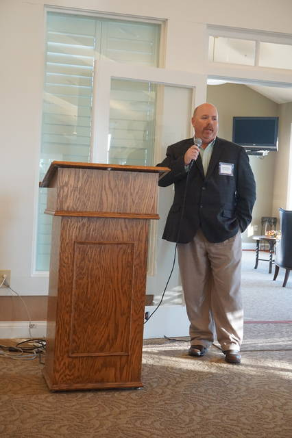 Big Walnut Board of Education Vice President Brad Schneider was the last candidate to speak at NorthStar Golf Club on Friday, Oct. 20.