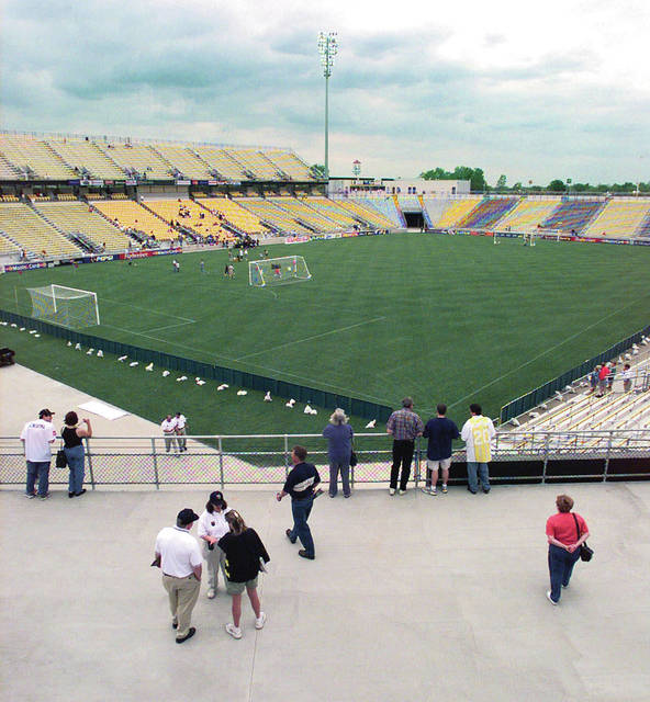 In this May 15, 1999, file photo, the stadium built for the Columbus Crew soccer team is shown in Columbus, Ohio. The owner of the Crew SC says the team will move to Austin, Texas, unless a new stadium is built in Columbus. Precourt Sports Ventures, owner of the Major League Soccer club since 2013, said it is exploring strategic options to ensure the long-term viability of the club.