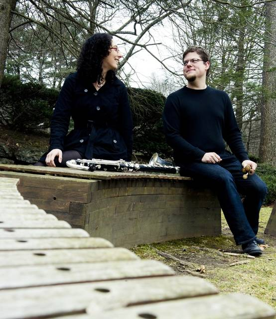 Transient Canvas, a duo of clarinetist Amy Advocat and marimbist/percussionist Matt Sharrock, will perform a free concert Nov. 16 at Ohio Wesleyan University's Richard M. Ross Art Museum. (Photo courtesy of Transient Canvas)