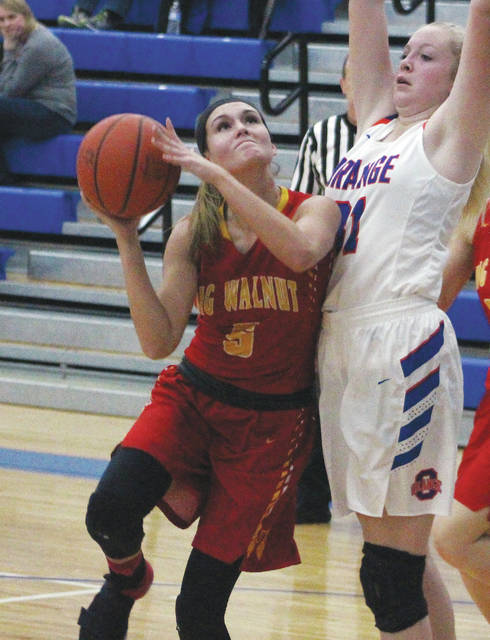 Big Walnut's Katie Cochran is defended by Olentangy Orange's Aurelia Johnson during the first half of Tuesday's (Dec. 19) non-league showdown in Lewis Center.