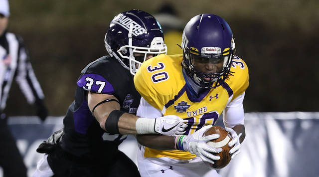 Nick Brish and the rest of the Mount Union defense made for a long night for the UMHB offense. Photo by Steve Frommell, d3photography.com