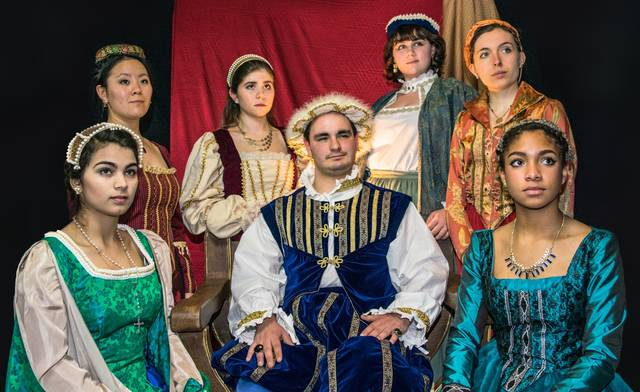 Ohio Wesleyan University's Department of Theatre & Dance will present four performances of 'Royal Gambit' from Feb. 15-18. Here, King Henry VIII, portrayed by OWU student Daniel Haygood, is surrounded by his six wives, portrayed by OWU students Rose Jonesco (clockwise from bottom left), Doris Ottman, Anna McReynolds, Emma Antal, Kacie Iuvara, and Nyjah Cephas. (Photo by Josh Martin.)